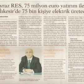 Poyraz RES, 75 Milyon Euro Yatırım ile Balıkesir'de 75 Bin Kişiye Elektrik Üretecek