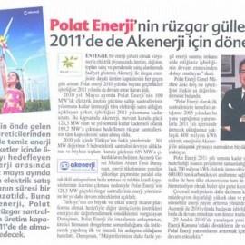 Polat Enerji'nin Rüzgar Gülleri 2011'de de Akenerji için Dönecek