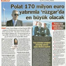 Polat 170 Milyon Euro Yatırımla 'Rüzgar' da En Büyük Olacak